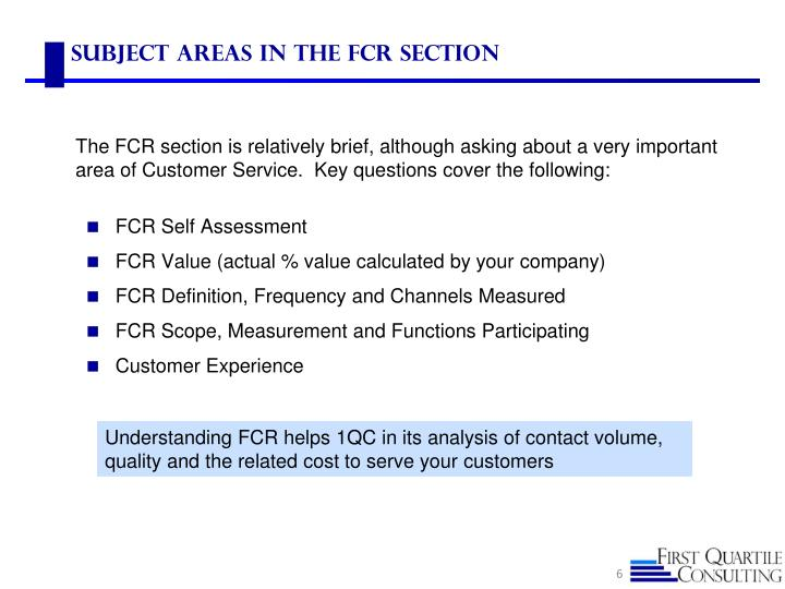 Subject Areas in the FCR Section