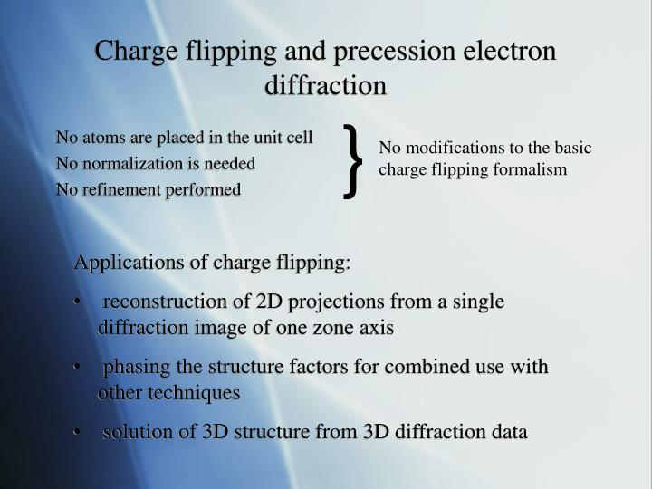 Charge flipping and precession electron diffraction