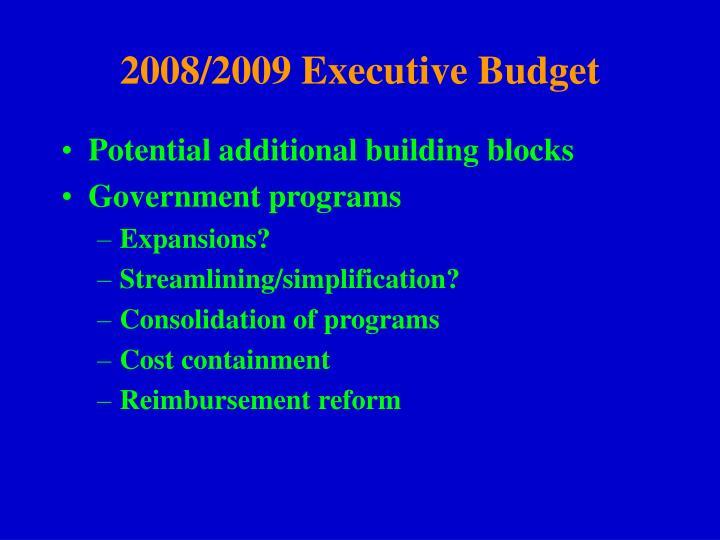 2008/2009 Executive Budget