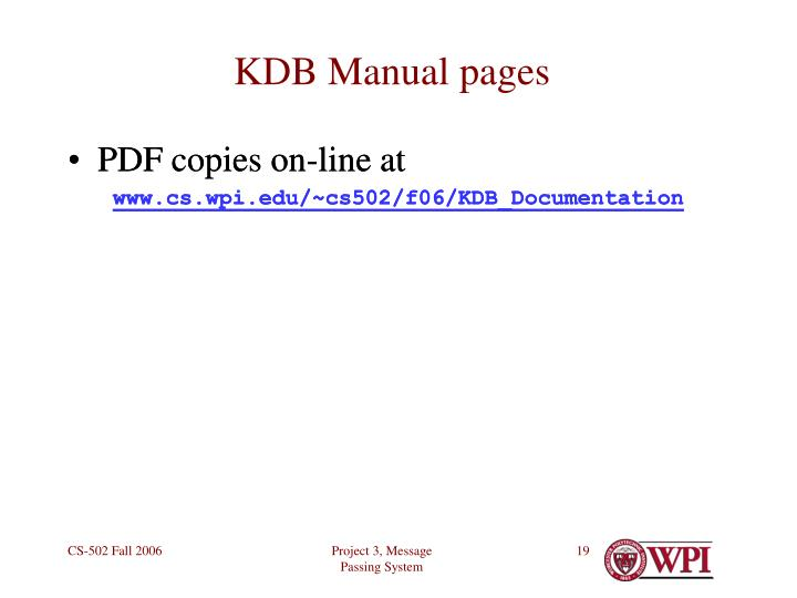 KDB Manual pages