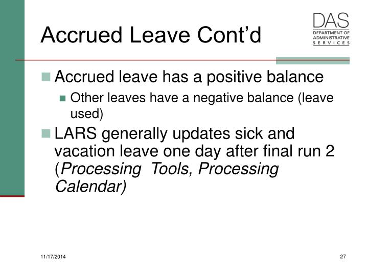Accrued Leave Cont'd