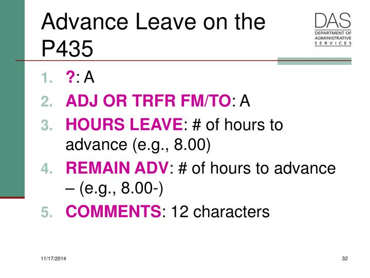 Advance Leave on the P435