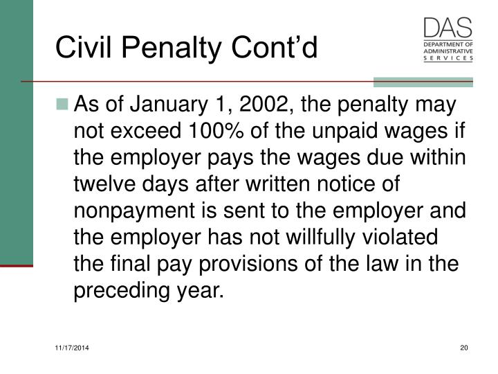 Civil Penalty Cont'd
