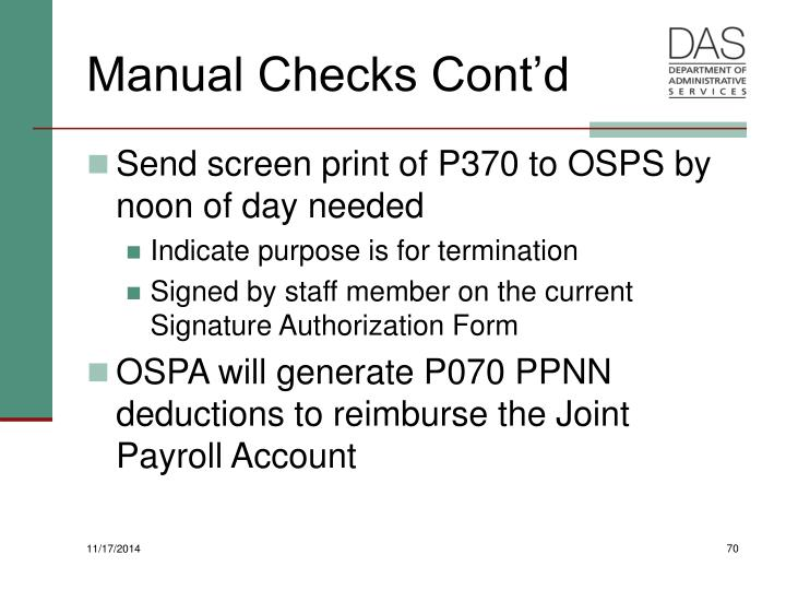 Manual Checks Cont'd