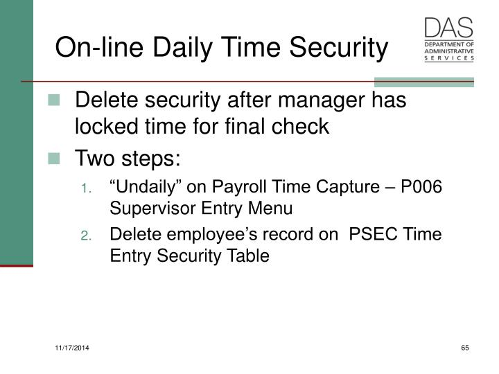 On-line Daily Time Security