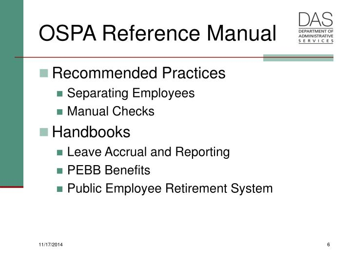 OSPA Reference Manual