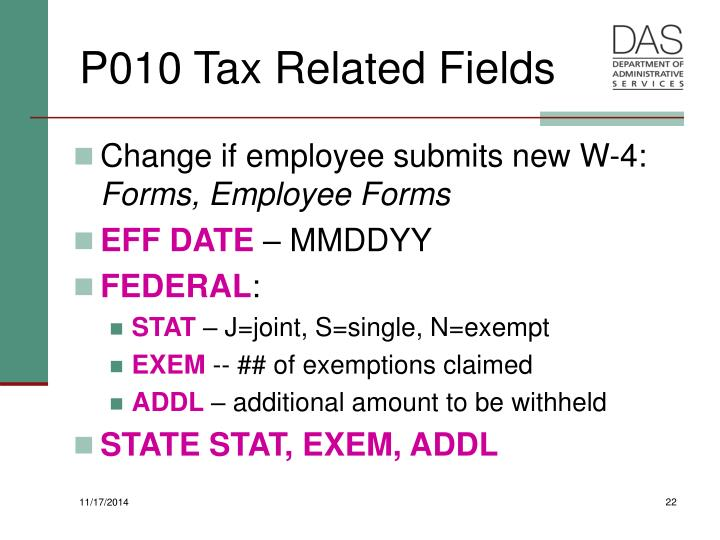 P010 Tax Related Fields