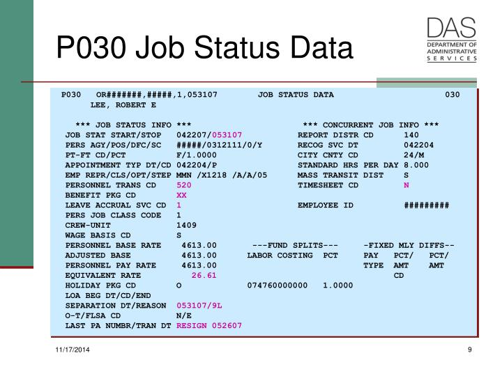 P030   OR#######,#####,1,053107        JOB STATUS DATA                      030
