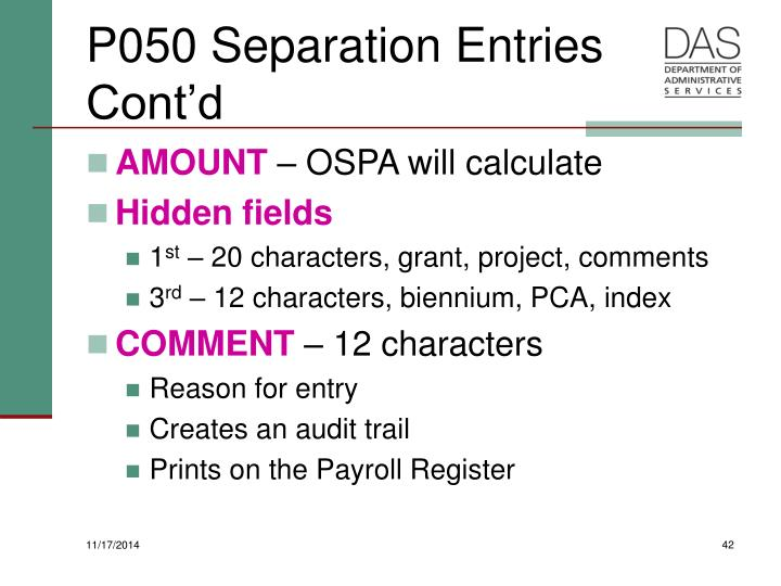 P050 Separation Entries Cont'd