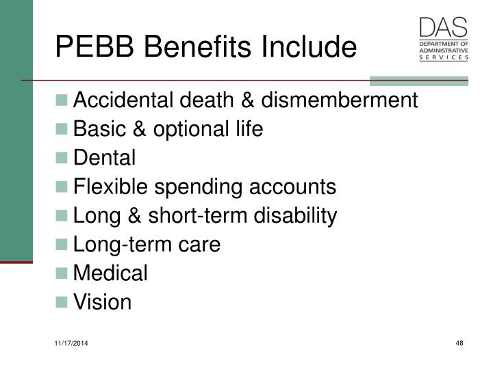 PEBB Benefits Include