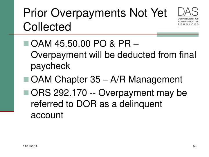 Prior Overpayments Not Yet Collected
