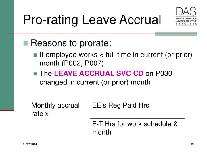 Pro-rating Leave Accrual