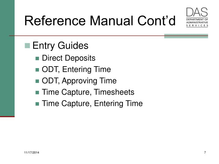 Reference Manual Cont'd