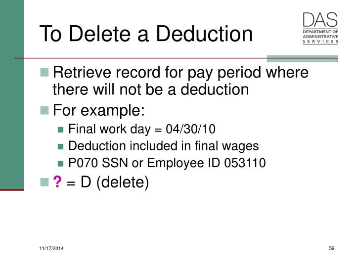 To Delete a Deduction