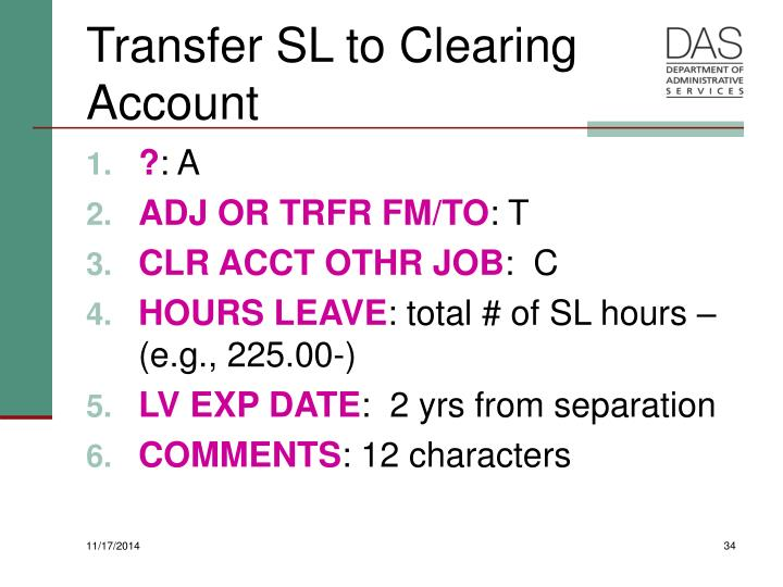 Transfer SL to Clearing Account