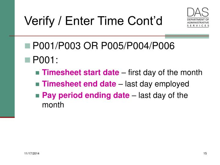 Verify / Enter Time Cont'd