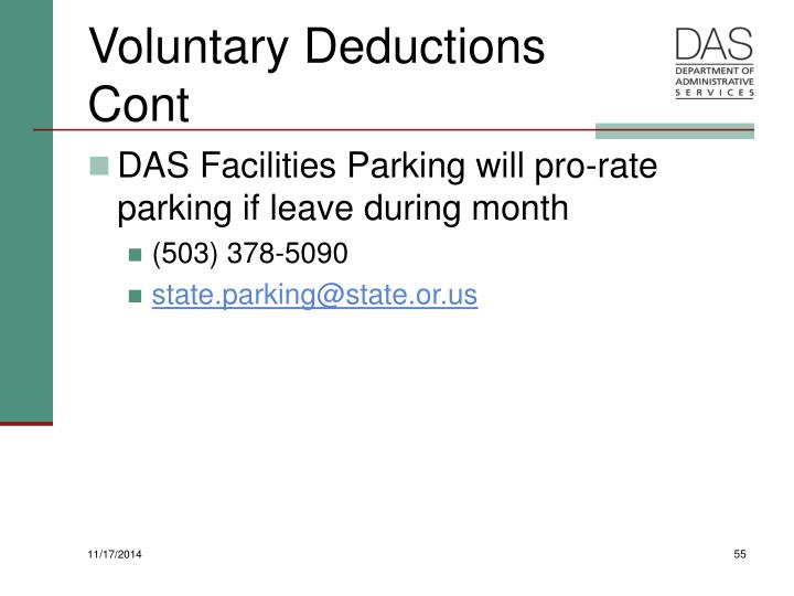 Voluntary Deductions Cont