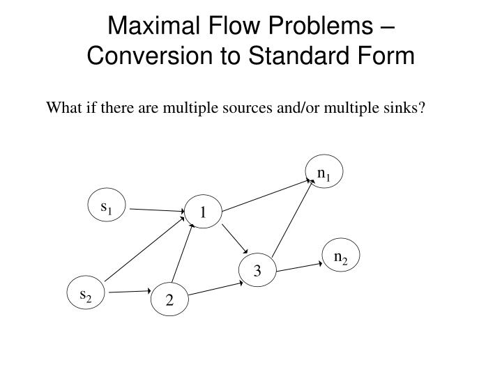 Maximal Flow Problems – Conversion to Standard Form