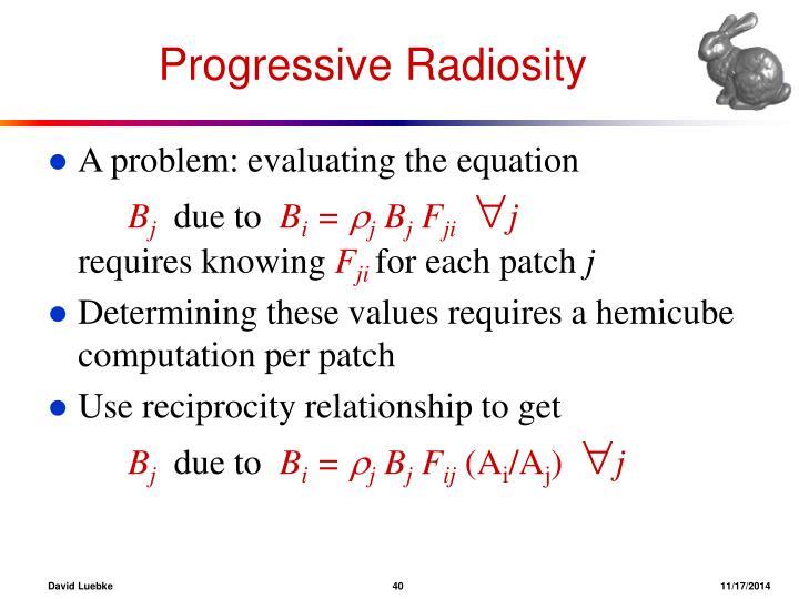 Progressive Radiosity