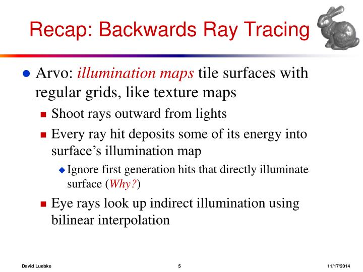 Recap: Backwards Ray Tracing