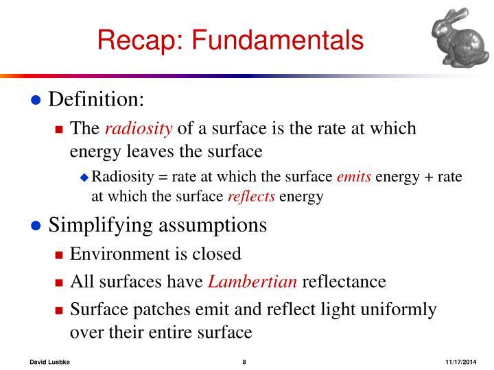 Recap: Fundamentals