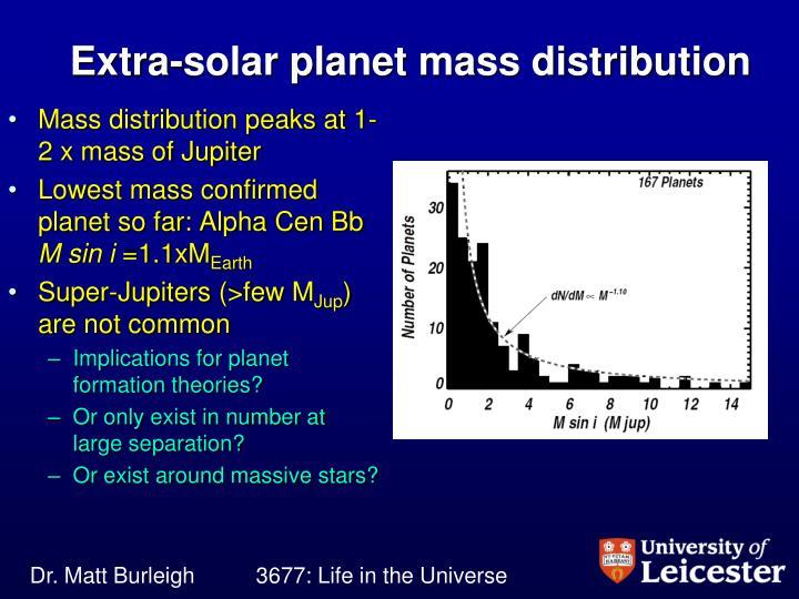 Extra-solar planet mass distribution