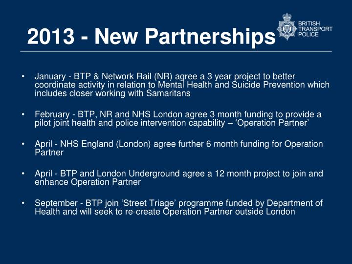 2013 - New Partnerships