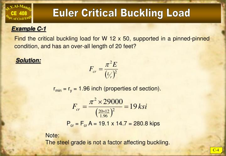 Euler Critical Buckling Load