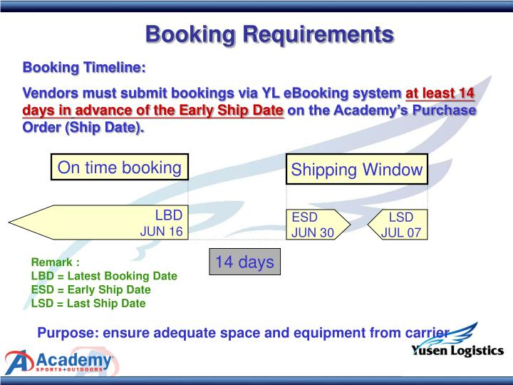 Booking Requirements