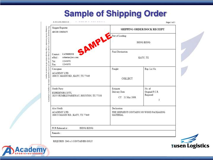 Sample of Shipping Order
