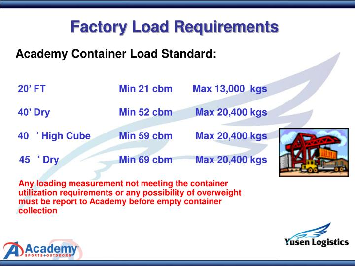 Factory Load Requirements