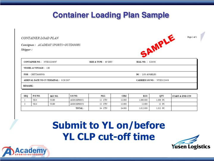Container Loading Plan Sample