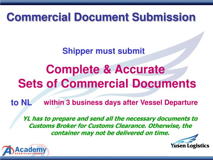 Commercial Document Submission