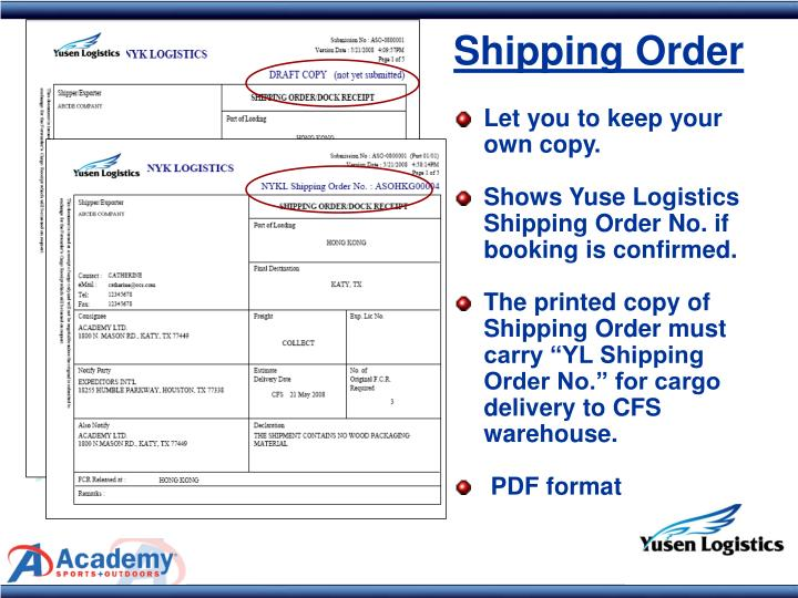 Shipping Order