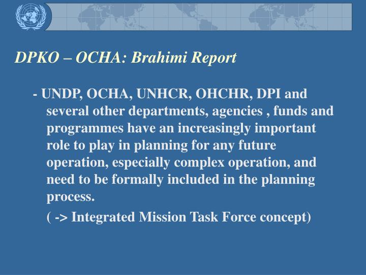 DPKO – OCHA: Brahimi Report