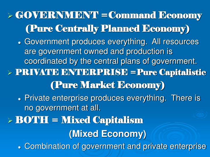 GOVERNMENT =Command Economy
