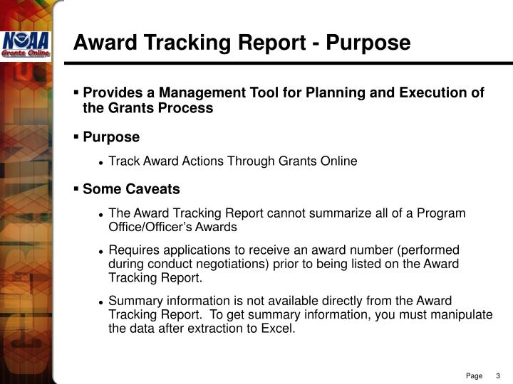 Award Tracking Report - Purpose