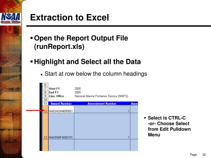 Extraction to Excel
