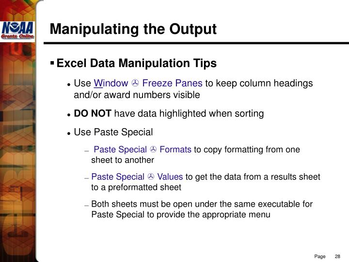 Manipulating the Output