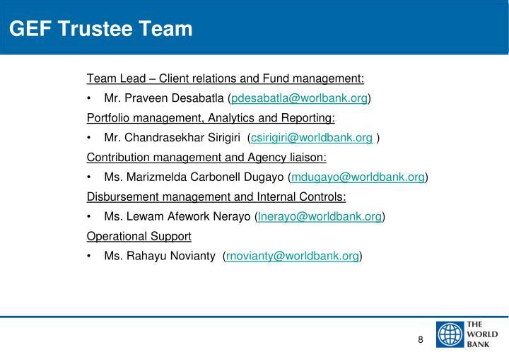 GEF Trustee Team