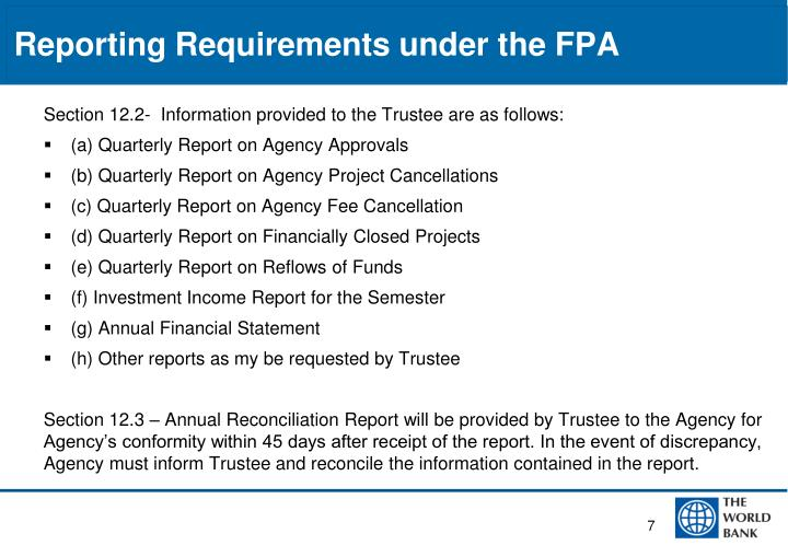 Reporting Requirements under the FPA