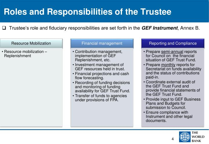 Roles and Responsibilities of the Trustee