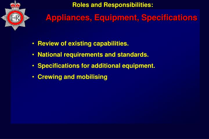 Appliances, Equipment, Specifications