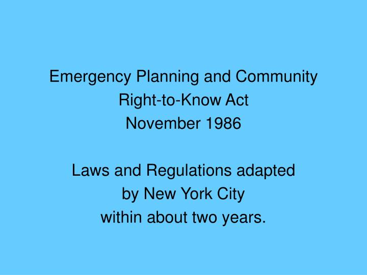 Emergency Planning and Community