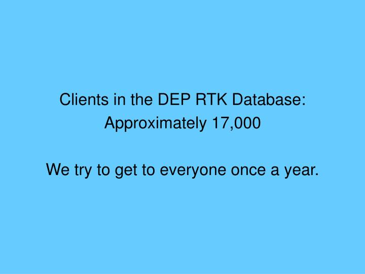 Clients in the DEP RTK Database: