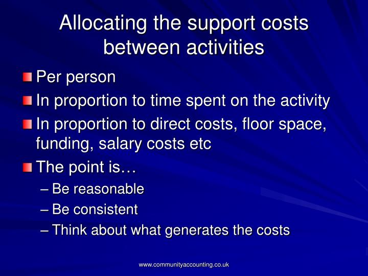 Allocating the support costs between activities