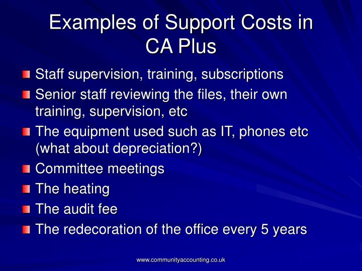 Examples of Support Costs in
