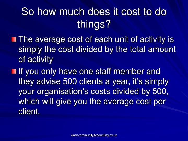 So how much does it cost to do things?