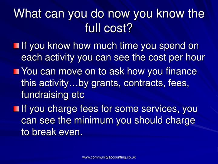 What can you do now you know the full cost?