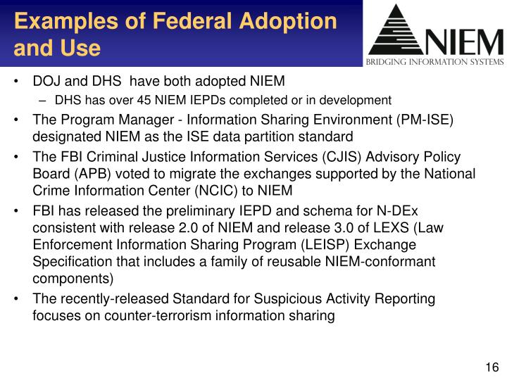 Examples of Federal Adoption and Use